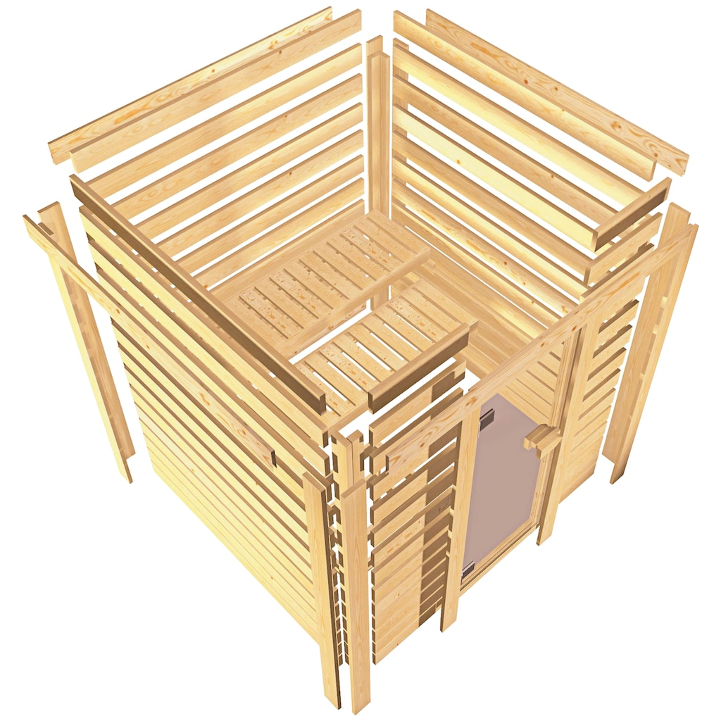 Karibu Sauna »Juli«, 4,5-kW-Ofen mit int. Steuerung