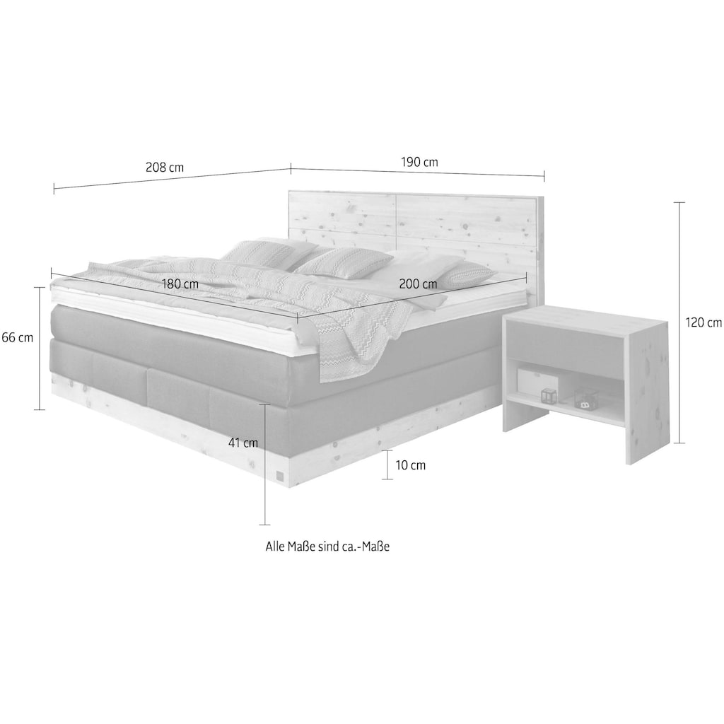 ADA premium Boxspringbett »Chalet«, TF 170 SL PM, Zirbenholz natur geölt