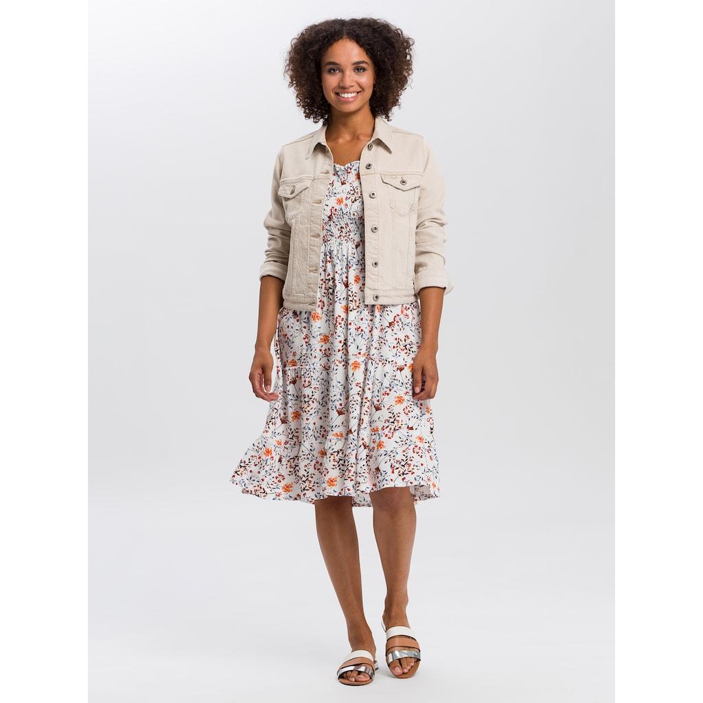 Cross Jeans® Sommerkleid »92151«, Off-Shoulder-Kleid mit gesmokten Partien