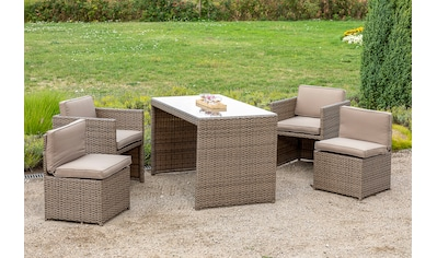 MERXX Loungeset »Merano for 4«, 13 - tlg., 4 Sessel, Tisch 128x70 cm, Polyrattan kaufen