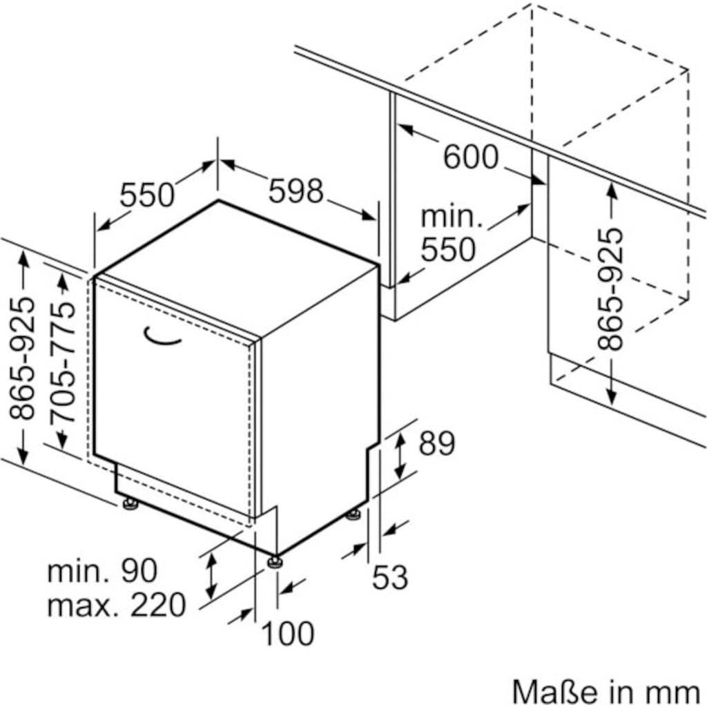 BOSCH vollintegrierbarer Geschirrspüler »SBV4HCX48E«, Serie 4, SBV4HCX48E, 14 Maßgedecke