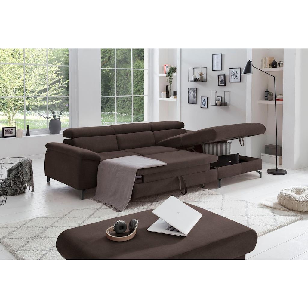 COTTA Polstergarnitur »Komaris I«, (Set), Set: bestehend aus Ecksofa und Hocker, frei im Raum stellbar, eleganter schwarzer Fuß
