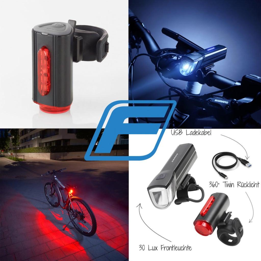 FISCHER Fahrräder Fahrradbeleuchtung »FISCHER LED Beleuchtungsset mit 360° Bodenleuchte«, (Set, 3, Front- und Rücklicht), mit zusätzlicher Bodenleuchte