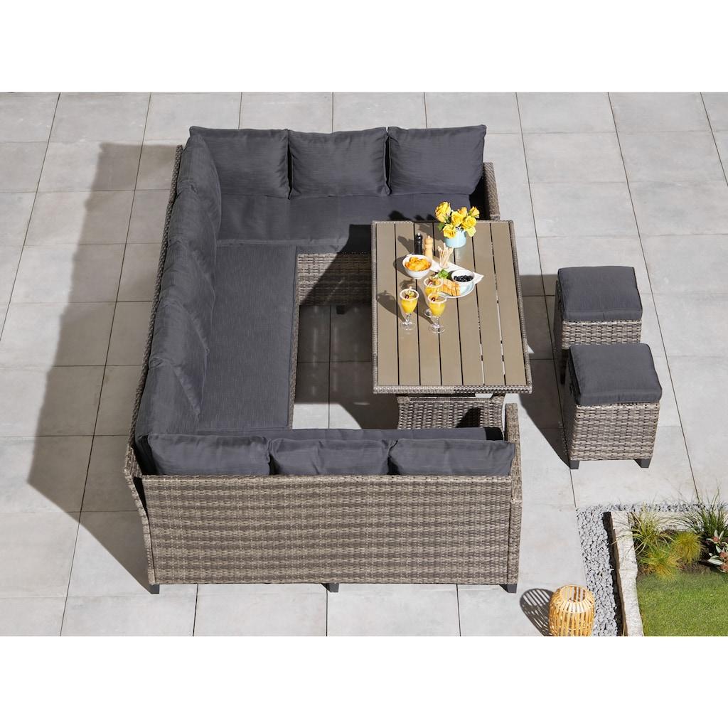 KONIFERA Loungeset »Rotterdam«, (20 tlg.), 3x Sofa, 2 Hocker, Tisch 120x82 cm, Polyrattan