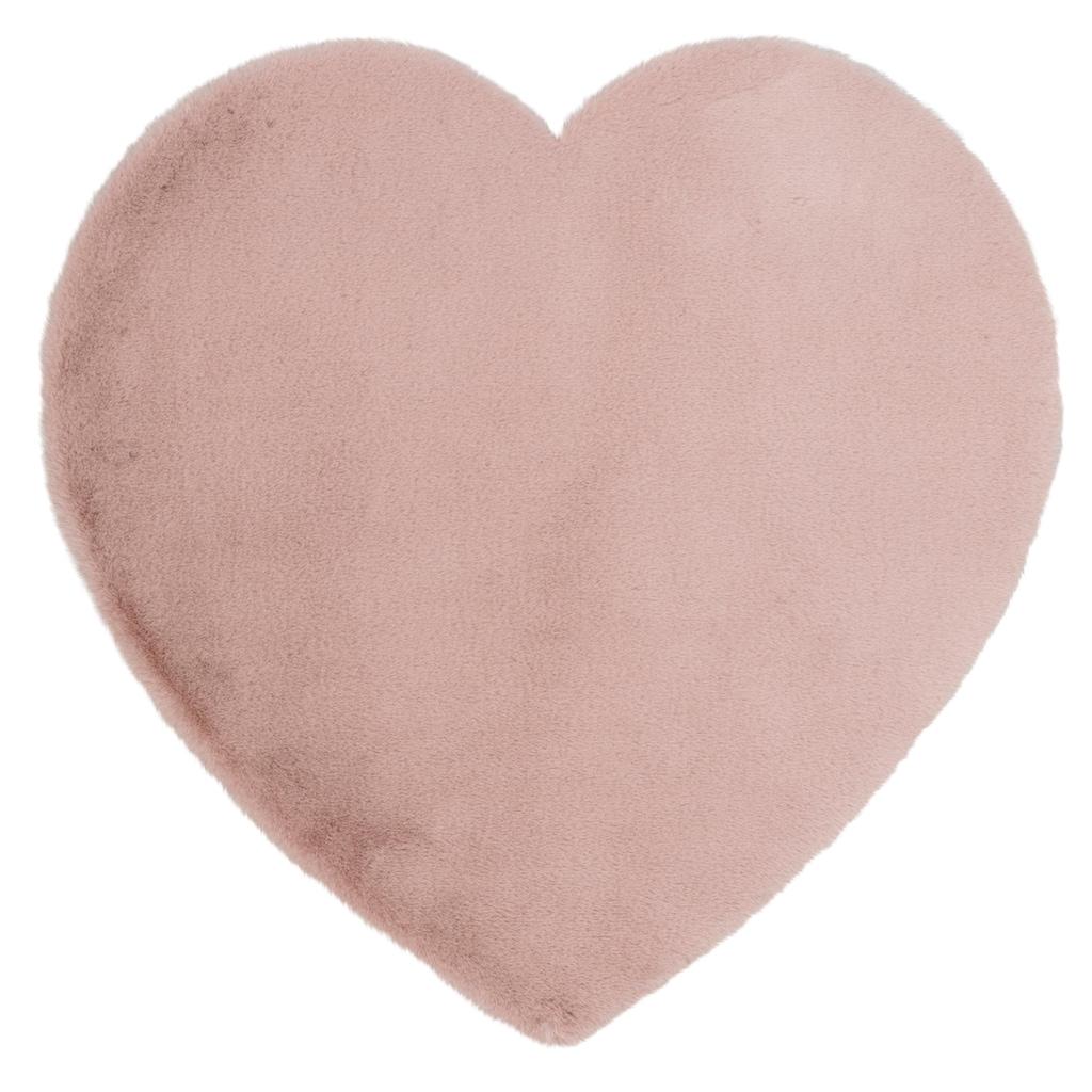 Lüttenhütt Kinderteppich »Herz«, herzförmig, 25 mm Höhe, Kaninchenfell-Haptik