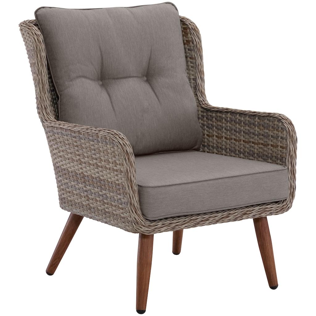 KONIFERA Loungeset »Malibu«, (14 tlg.), 3er Sofa, 2 Sessel, Tisch, Polyrattan