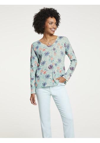 LINEA TESINI by Heine V-Ausschnitt-Pullover, mit Blumen-Dessin kaufen