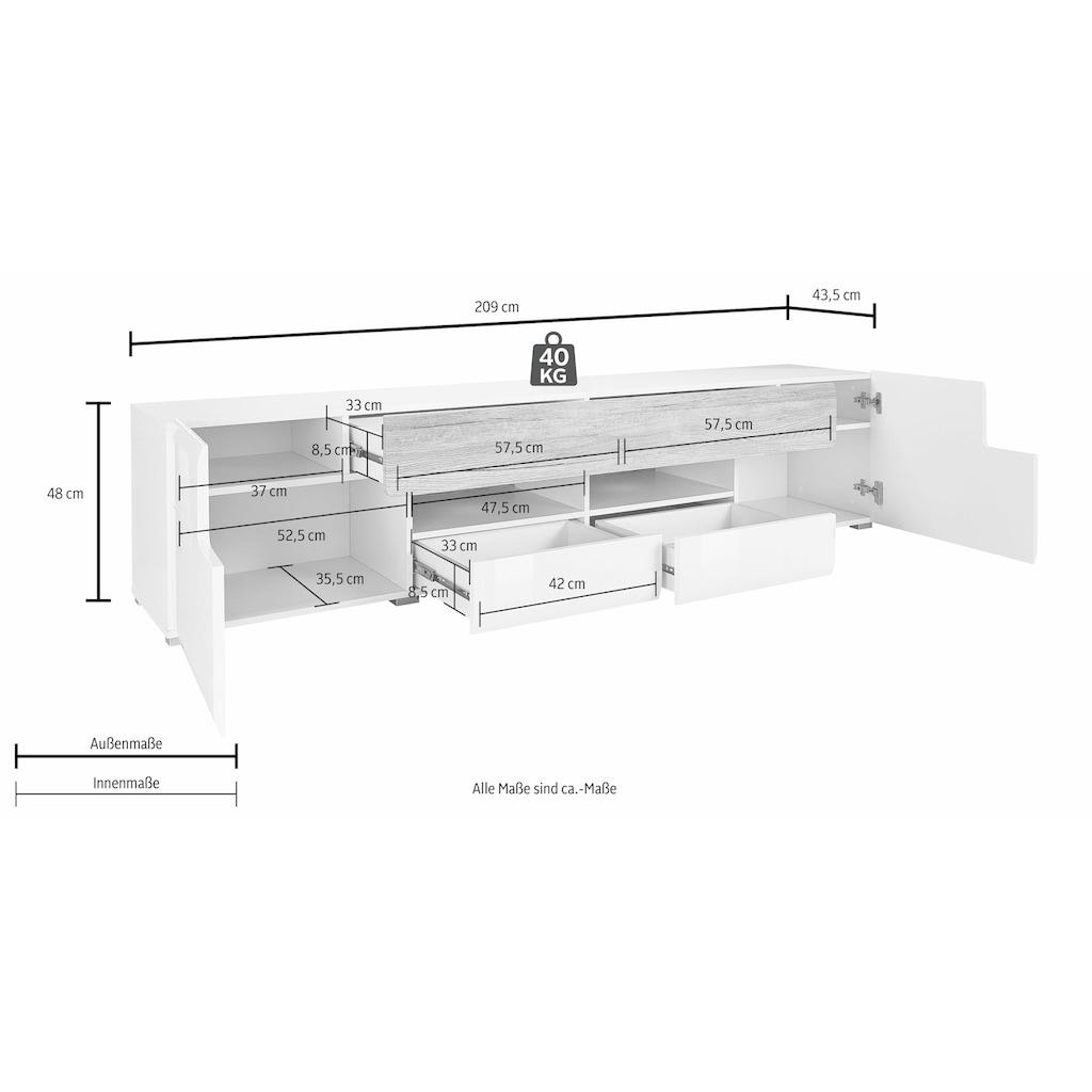 TRENDMANUFAKTUR Lowboard »Toledo«, Breite 209 cm