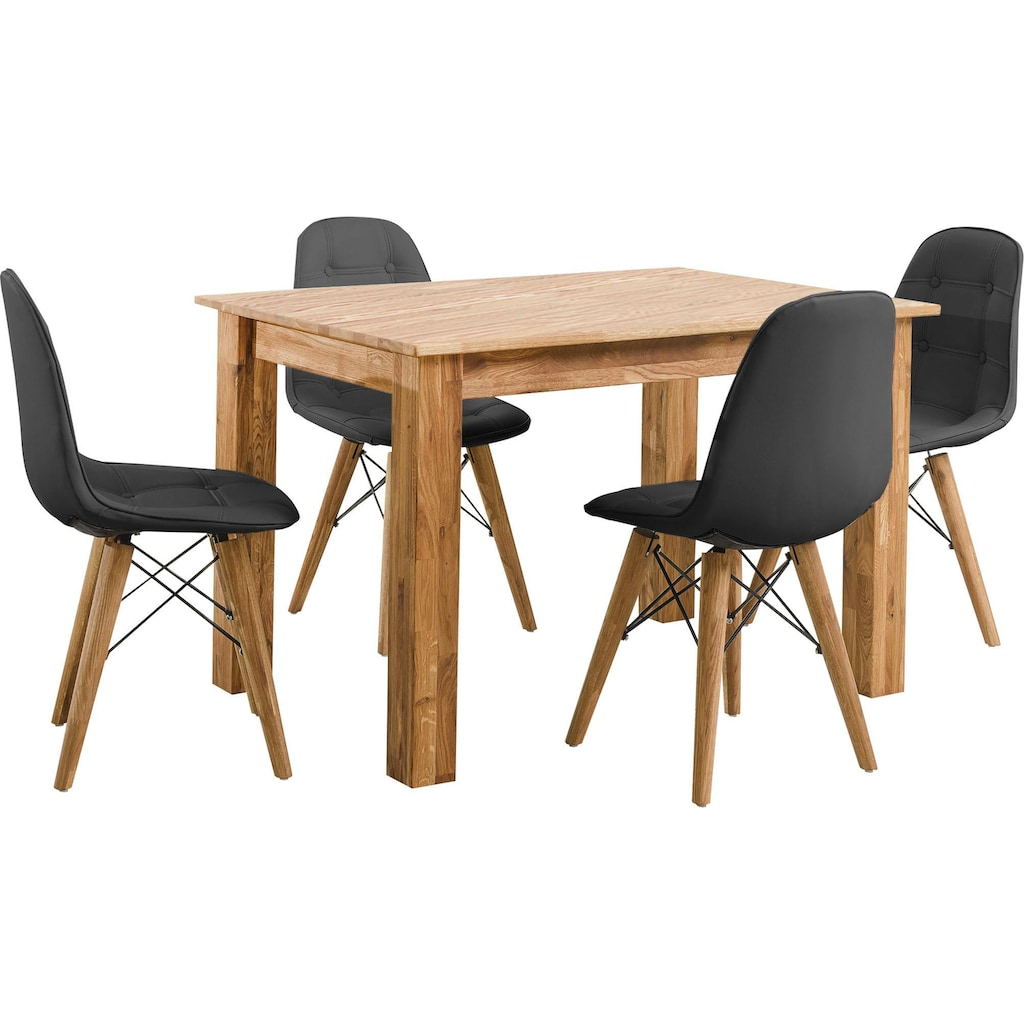Home affaire Essgruppe »Ben«, (Set, 5 tlg.), bestehend aus 4 Scandi Stühlen mit Kunstleder Bezug und einem Massivholz Esstisch, Esstischgröße 120 cm