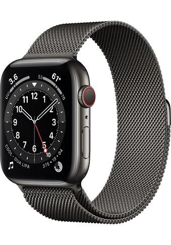 Apple Smartwatch »Apple Watch Series 6 GPS + Cellular, Edelstahlgehäuse, 44 mm mit Milanaise Armband« ( kaufen