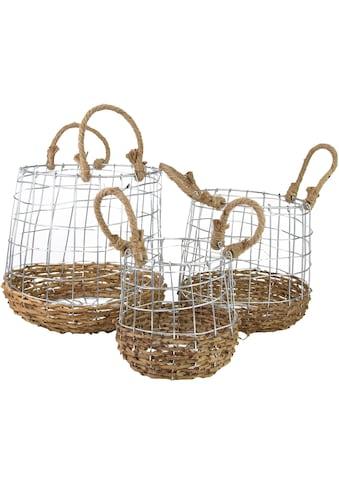 Aufbewahrungskorb, (Set, 3 St.), aus Metall und Rattangeflecht kaufen