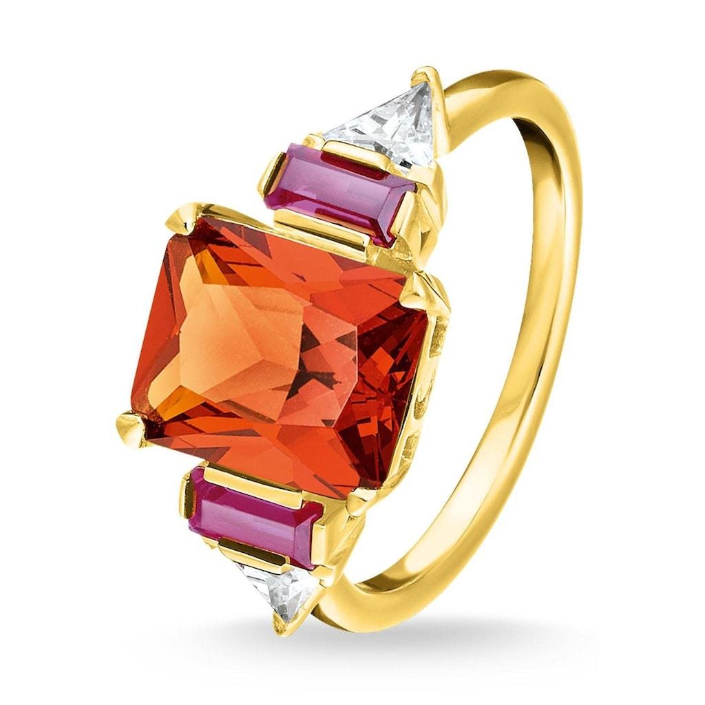 THOMAS SABO Fingerring »Farbige Steine Gold, TR2262-488-7-52, 54, 56, 58, 60«, mit Glassteinen, synth. Korund und Zirkonia