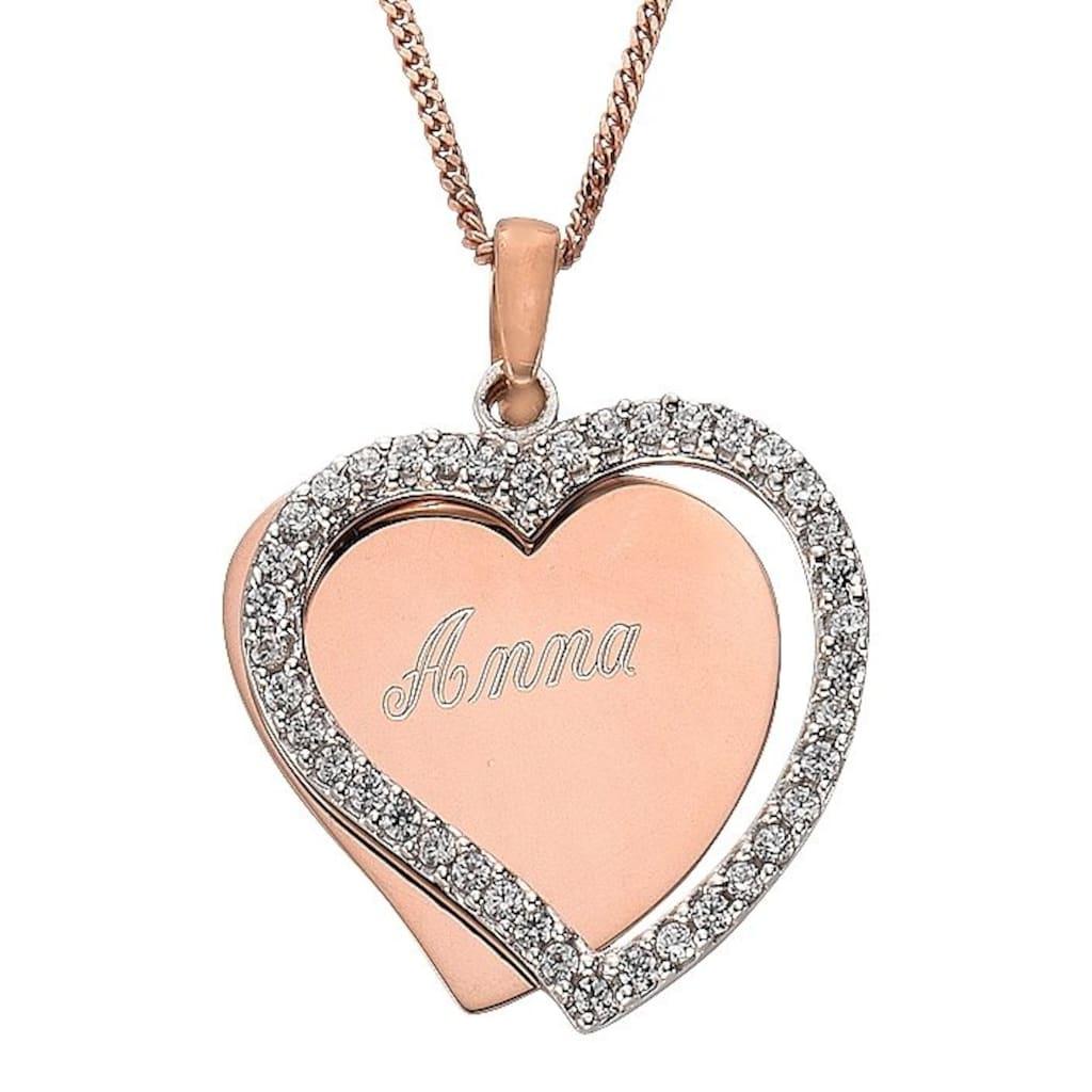 Firetti Kette mit Anhänger »Herz, mit gratis Gravur«, mit Zirkonia