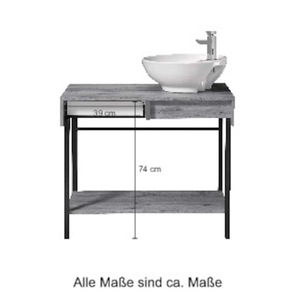 welltime Waschtisch »Haarlem«, Breite 87,6 cm, Badmöbel mit 2 Schubladen