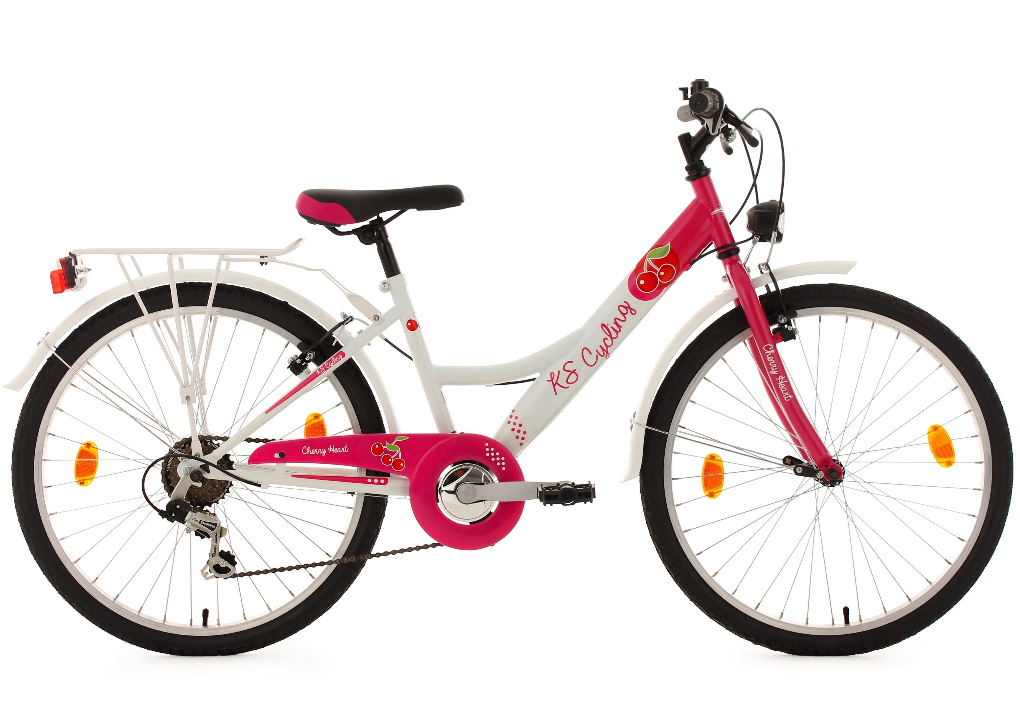 KS Cycling Mädchen Kinderfahrrad, 24 Zoll, weiß-pink, 6 Gang Kettenschaltung, »Cherry Heart«