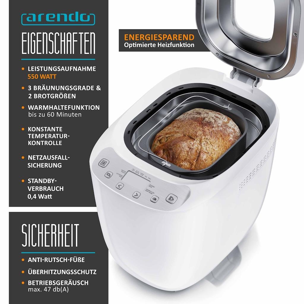 Arendo Brotbackmaschine mit 12 Programmen »Brotbackautomat 550 Watt«