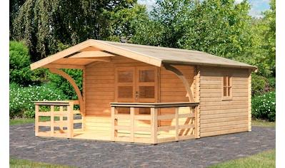 Karibu Gartenhaus »Meldorf 5«, mit Vordach und Terrasse kaufen