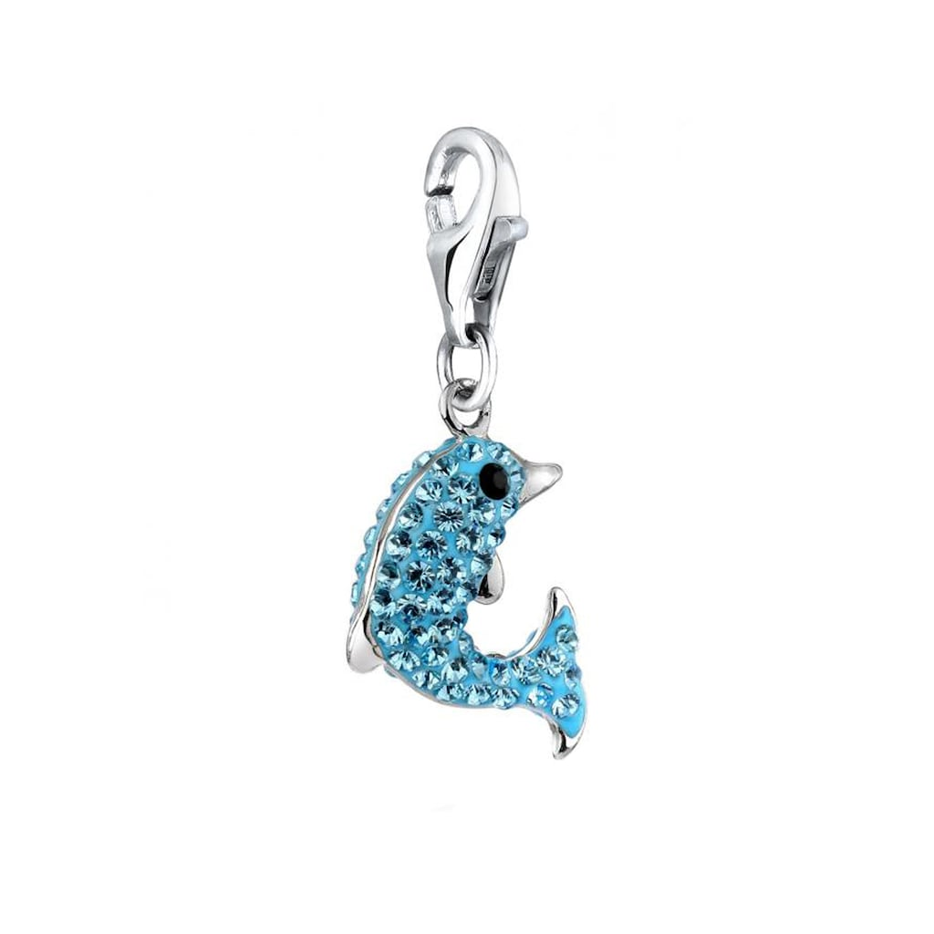 Nenalina Charm-Einhänger »Anhänger Delfin Kristalle 925 Silber«
