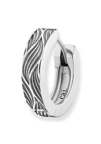 CAÏ Paar Creolen »925/-Sterling Silber rhodiniert Wellen«, im oxidized look kaufen