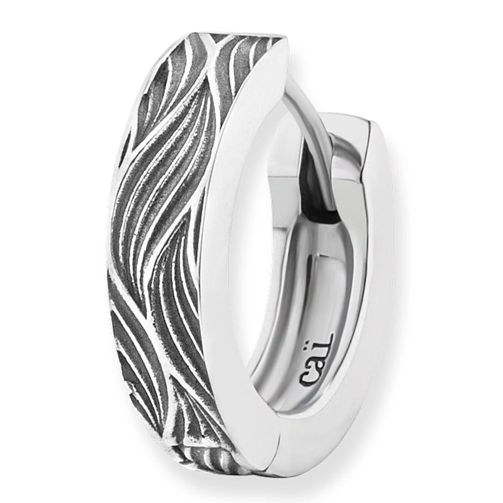 CAÏ Paar Creolen »925/-Sterling Silber rhodiniert Wellen«, im oxidized look