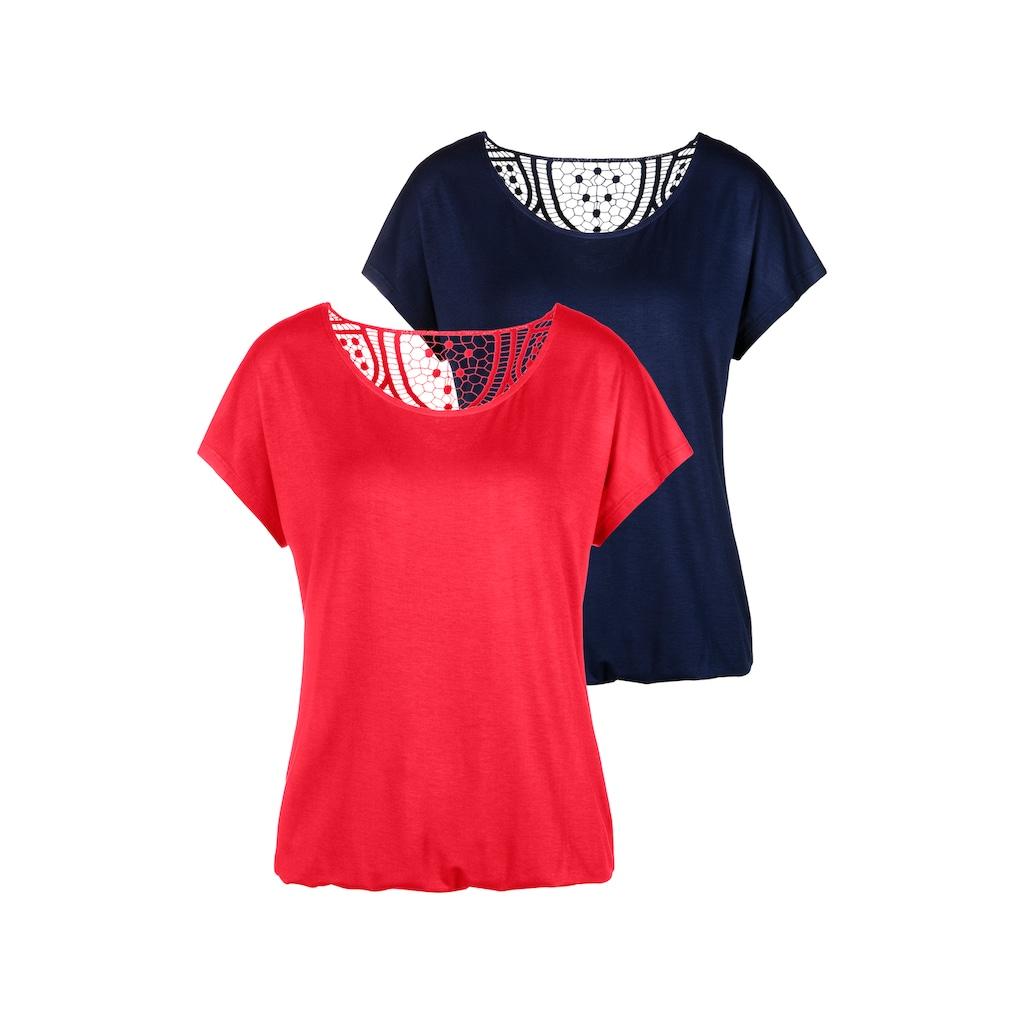 Vivance T-Shirt, mit weicher Häkelspitze im Rücken