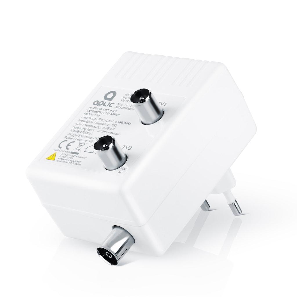 Aplic Antennen Verstärker für DVB-T2 / Kabel TV / Radio »Signalverstärkung von 2x 15 dB«