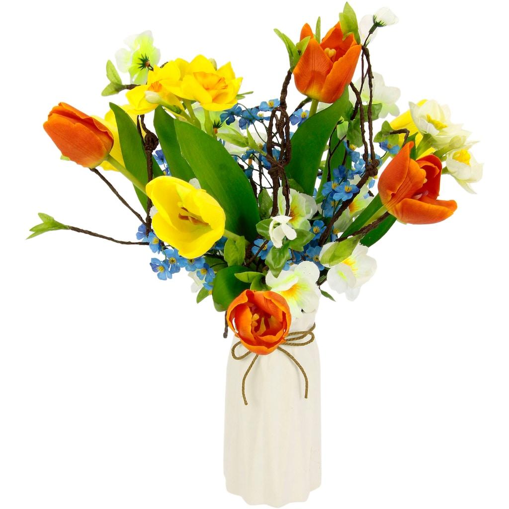 I.GE.A. Kunstblume »Arrangement Tulpen/Blüten«, Vase aus Keramik