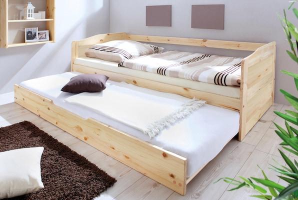 Bett mit Bettkasten aus Holz