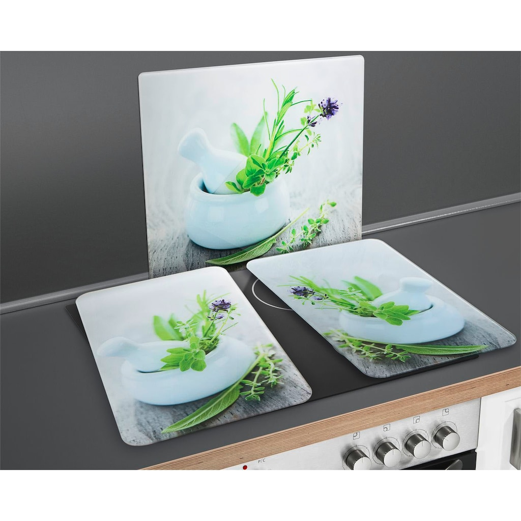 """WENKO Herd-Abdeckplatte """"Kräutergarten"""", Glas Silikon"""