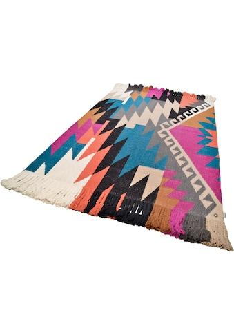 TOM TAILOR Teppich »Funky Kelim«, rechteckig, 6 mm Höhe, Boho-Style, handgewebt, mit... kaufen