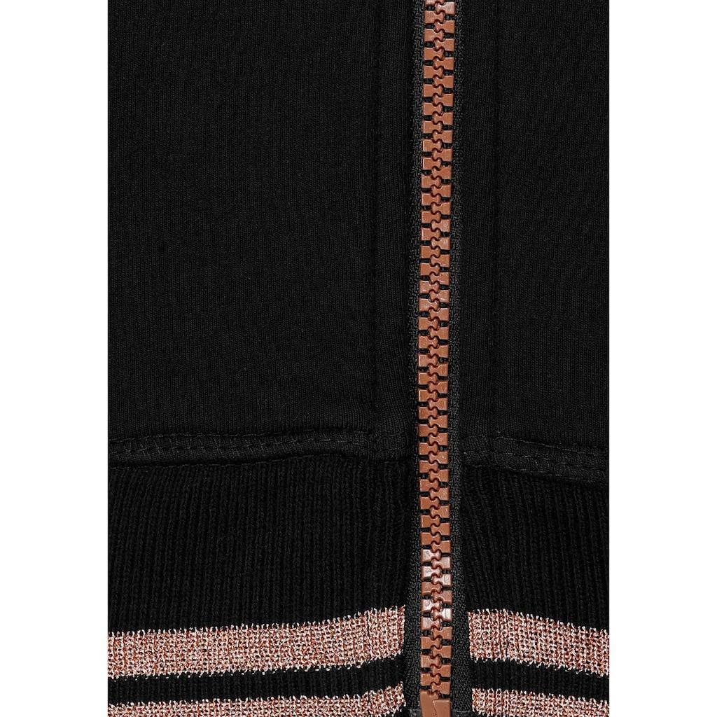H.I.S Kapuzensweatjacke, mit metallisch glänzenden Details; Große Größe