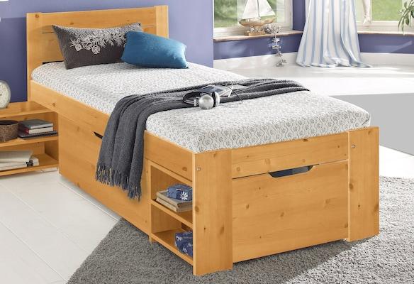 Einzelbett mit Stauraum aus Holz