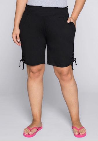 Sheego Shorts, mit seitlichen Raffungen und Smokbund kaufen