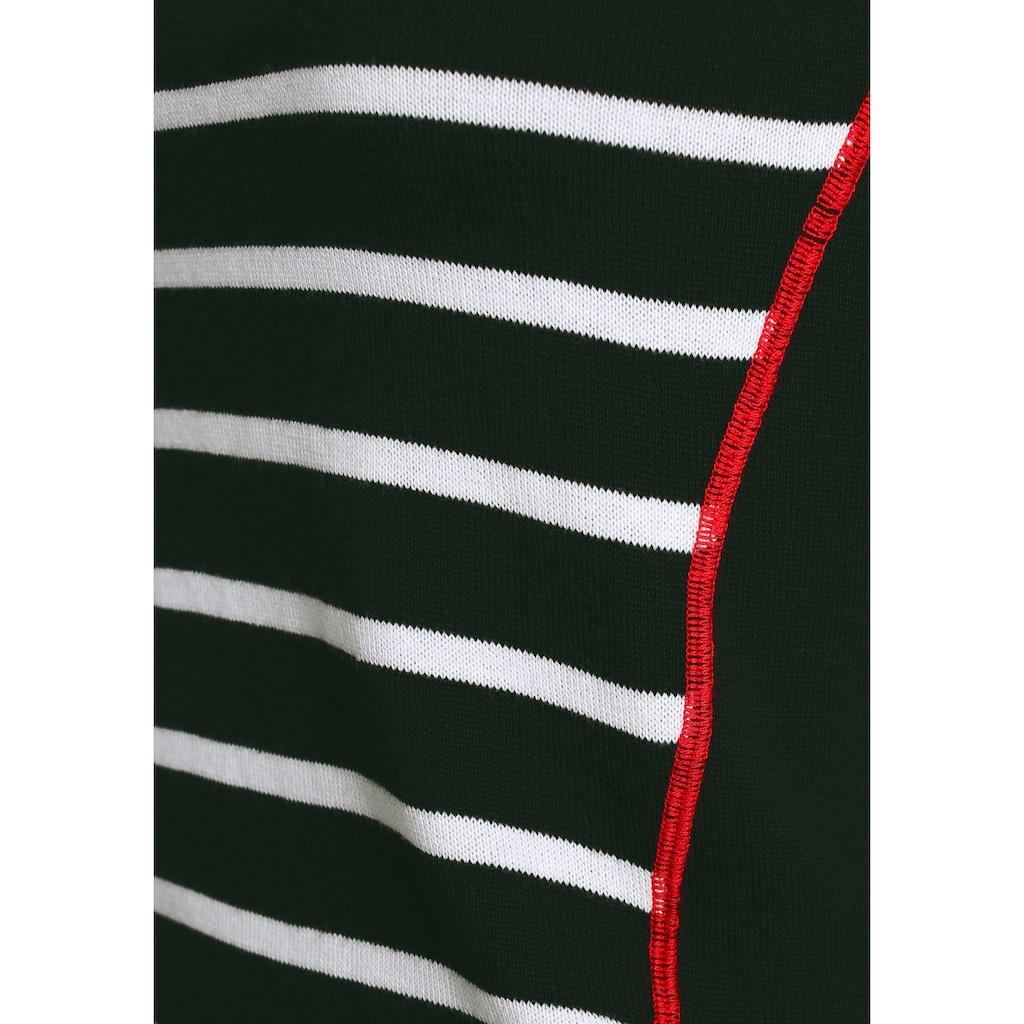 AJC Rundhalspullover, mit maritimen Streifendesign und Konstrastnähten
