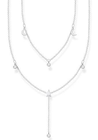 THOMAS SABO Kette mit Anhänger »weiße Steine, Mond, Stern, KE2070-051-14-L45v«, mit... kaufen