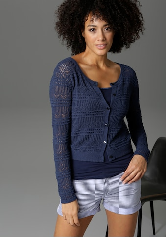 Aniston CASUAL Strickjacke, im Ajourmuster-Mix - NEUE KOLLEKTION kaufen