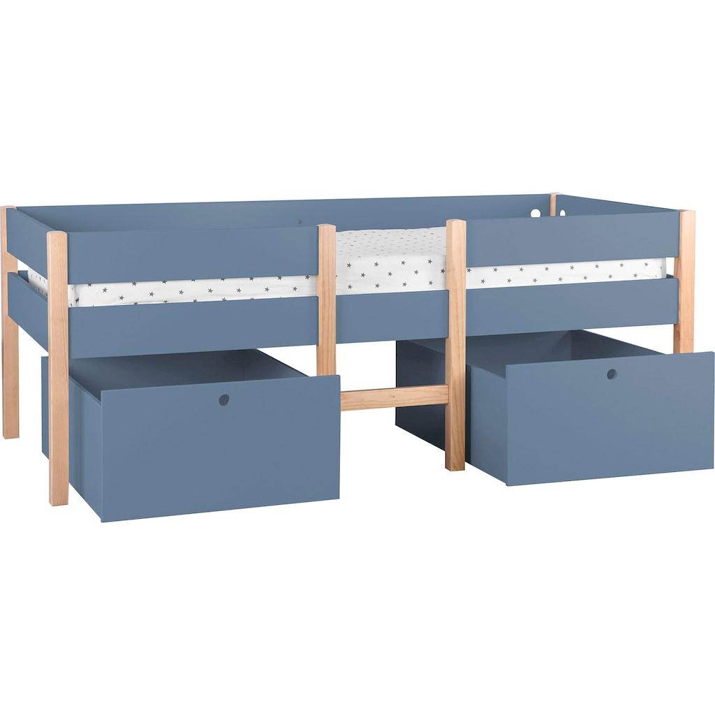Lüttenhütt Hochbett »Lizzi«, (5 St., mit Leiter und 2 Schubladen, inkl. Lattenrost), mit Leiter und 2 Schubladen, inkl. Lattenrost