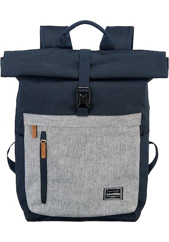 travelite Laptoprucksack »Basics Rollup, Marine/Grau« kaufen