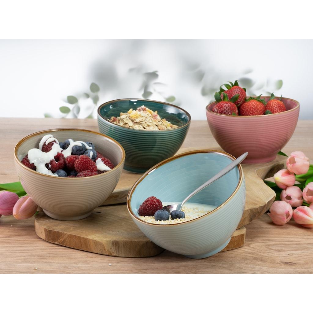 CreaTable Frühstücks-Geschirrset »Cosy Morning«, (Set, 12 tlg.), Kreisstruktur