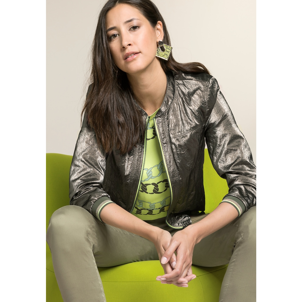 bianca Lederimitatjacke »JEAN«, im Metallic-Look mit coolem Neon-Detail