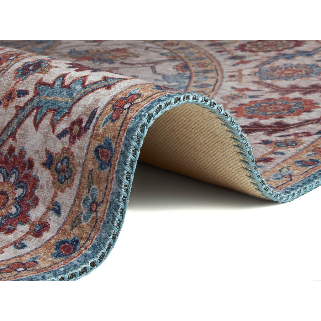 NOURISTAN Teppich »Anthea«, rund, 5 mm Höhe, Vintage Design, Orient-Optik, Wohnzimmer