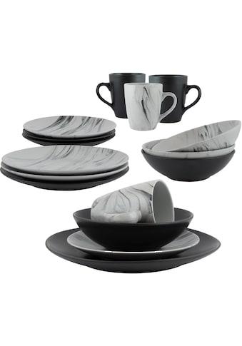 Leonique Kombiservice »Truro«, (Set, 16 tlg.), Schiefer schwarz/graue Marmor-Optik,... kaufen