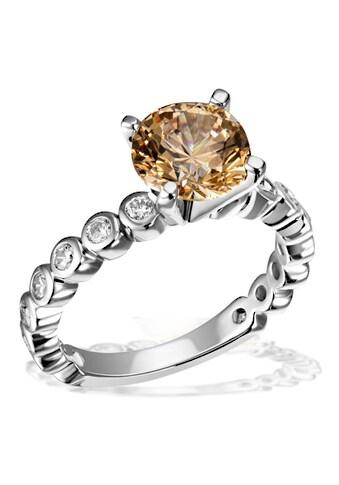 goldmaid Silberring, 925/- Silber 16 weiße Zirkonia 1 gelber Zirkonia kaufen