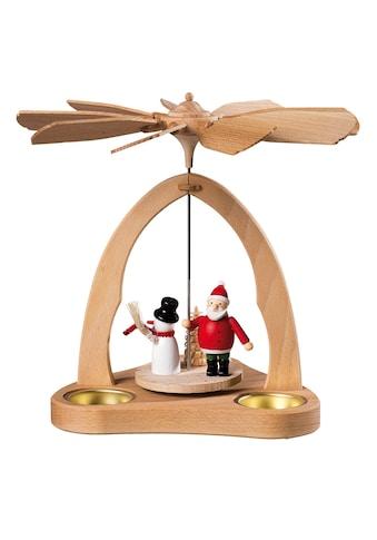 SAICO Original Tischpyramide Weihnachtsmann und Schneemann für 3 Teelichte kaufen