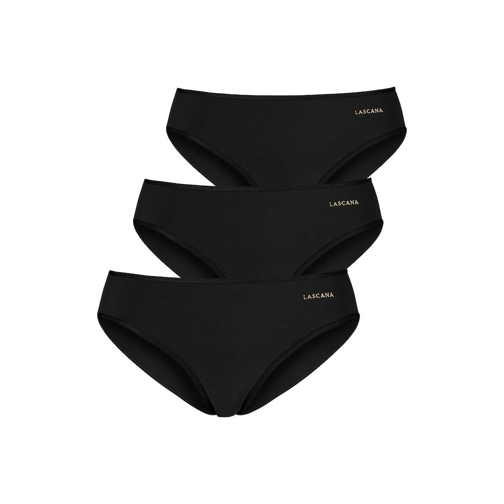 LASCANA Jazz-Pants Slips, (3 St.), mit goldfarbenem Logodruck