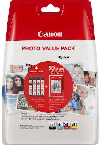 Canon Tintenpatrone »CLI-581 BK/C/M/Y + Fotopapier Value Pack«, (Packung) kaufen