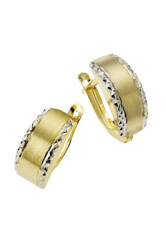CELESTA Paar Creolen »333/- Gelbgold bicolor diamantiert«, Creolen kaufen