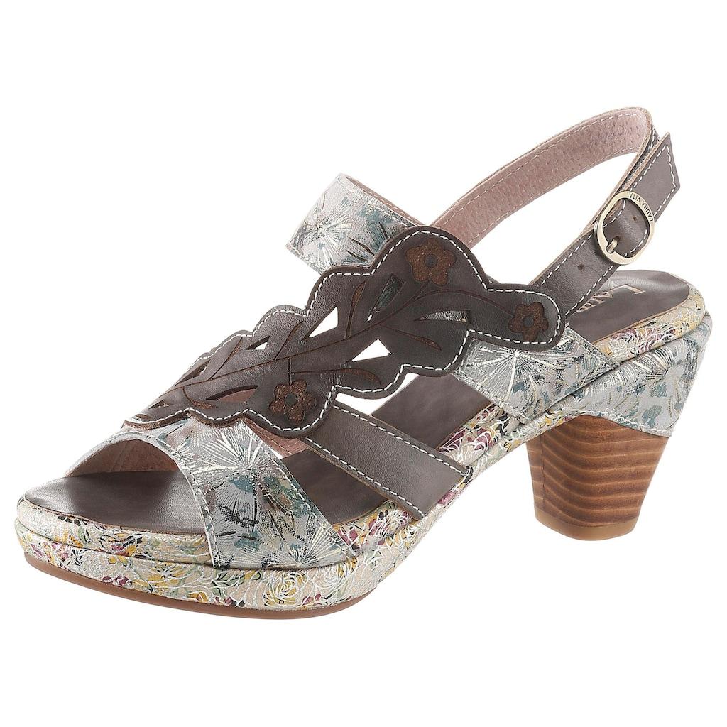 LAURA VITA Sandalette »Beclforto«, mit verstecktem Klettverschluss unter der Blatt-Applikation