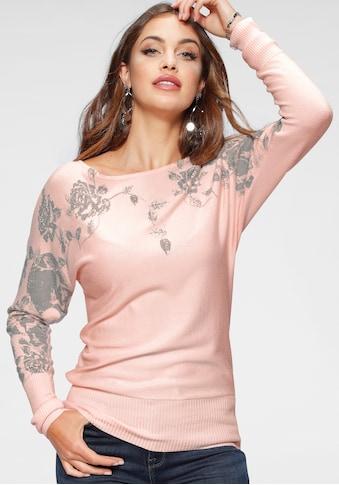 Melrose Fledermauspullover, mit Blumenmuster und Glitzersteinen kaufen