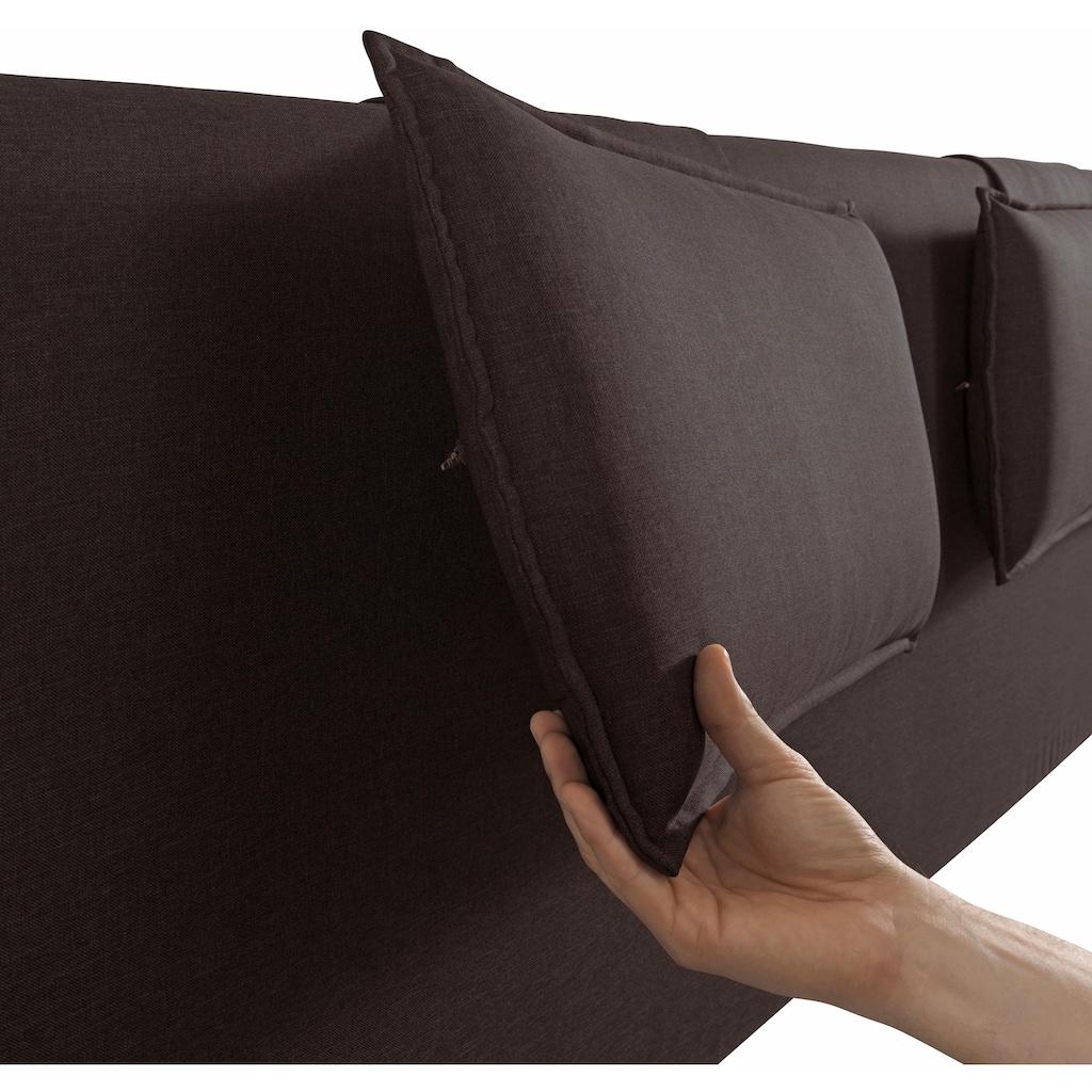 TOM TAILOR Boxspringbett »HEAVEN BOX«, mit abnehmbaren Kopfteil-Kissen, mit »TOM TAILOR« Print